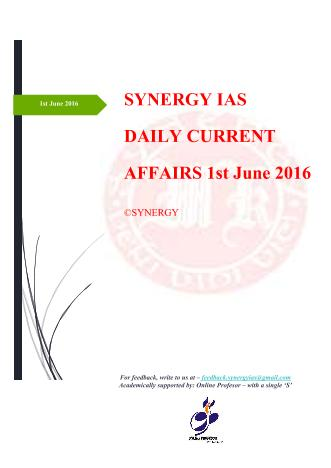 Current Affairs 1st June 2016