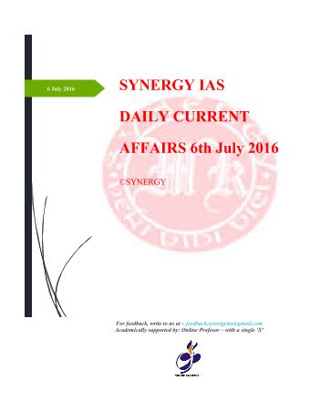 Current Affairs 6th July 2016