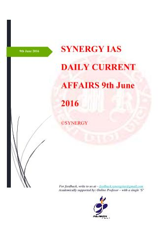 Current Affairs 9th June 2016