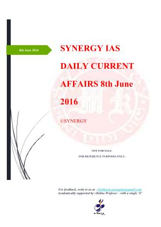 Current Affairs 8th June 2016