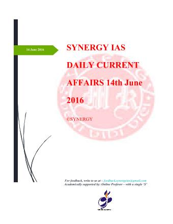 Current Affairs 14th June 2016
