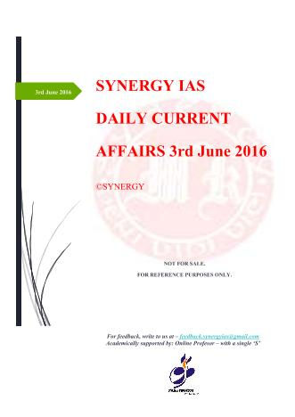 Current Affairs 3rd June 2016