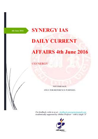 Current Affairs 4th June 2016