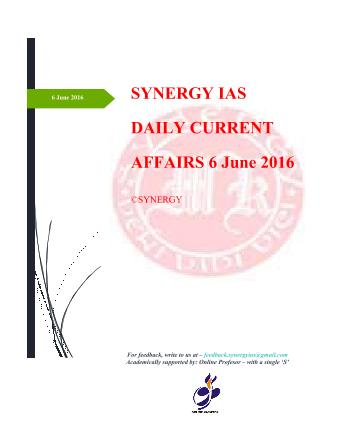 Current Affairs 6th June 2016