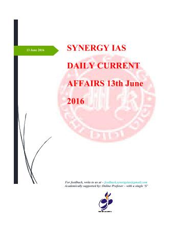Current Affairs 13th June 2016
