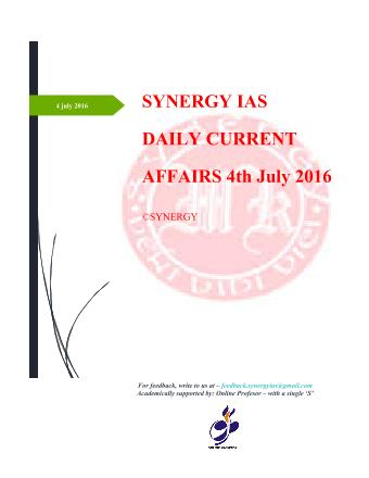 Current Affairs 4th july 2016