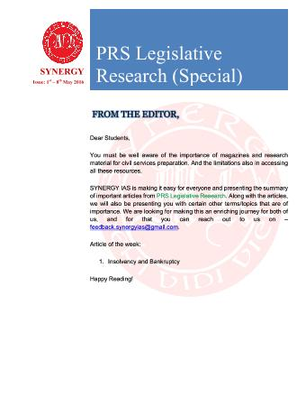 PRS Legislative Research Special Issue (1st - 8th May 2016)