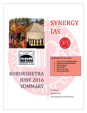 Kurukshetra Summary Issue (June 2016)