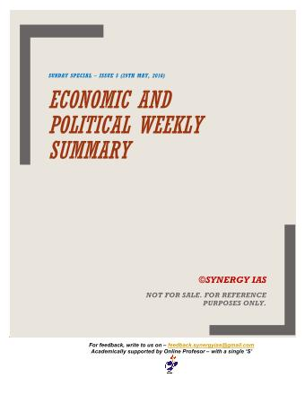 Economic and Political Weekly Summary- Issue 5 (29th May, 2016)