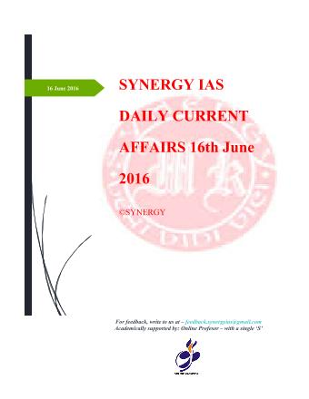Current Affairs 16th June 2016